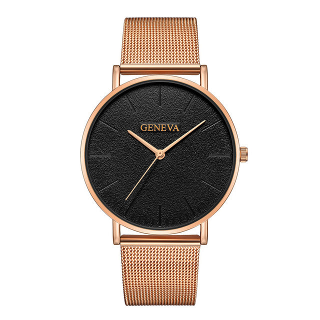 Women's Fashion Rose Gold Silver Ladies Watch