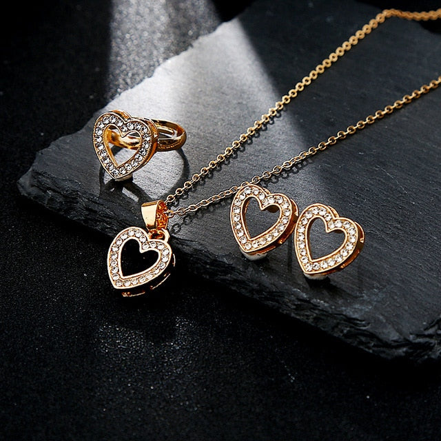 5 Pieces / Set Heart Gold Color Crystal Jewelry Set