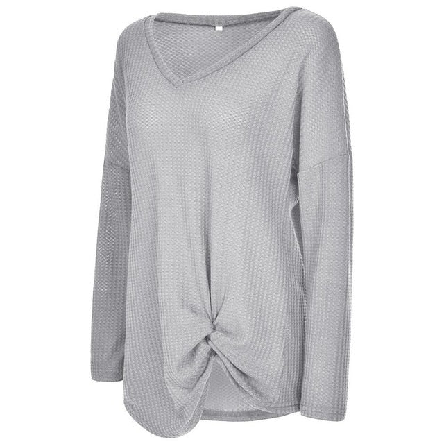 V Neck Long Sleeve Knot Waffle Knit Tunic Tops