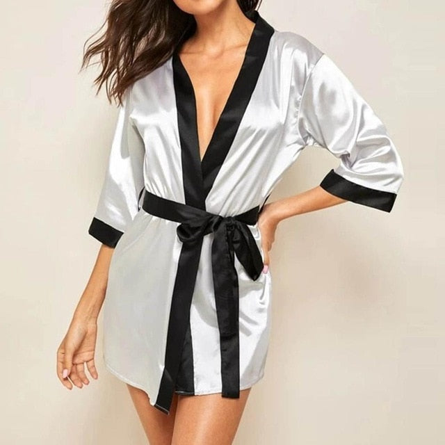 Women Silk  Satin  Long Sleeve  Sleepwear Robe With Belt