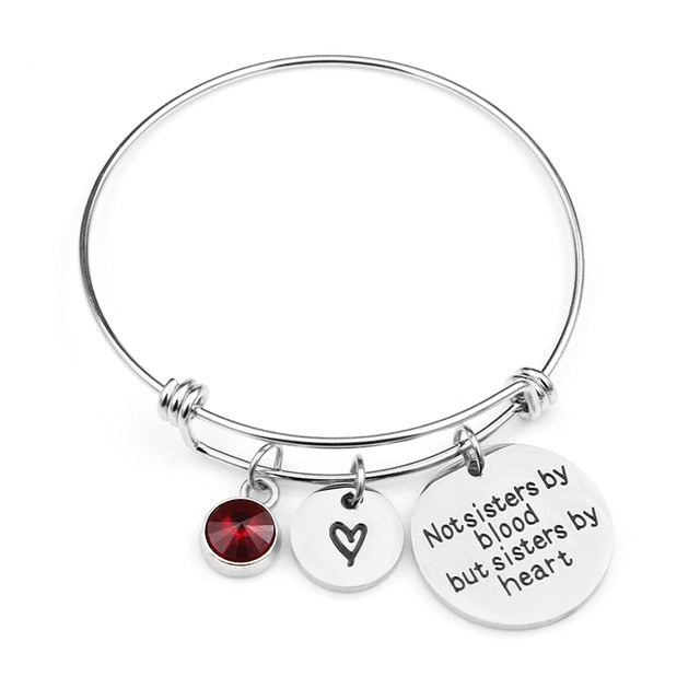 """Not sisters by blood but sisters by heart""Birthstone Bangle Bracelets"