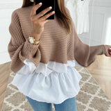 Winter Fashion Ruffled knitted Jumper Sweater