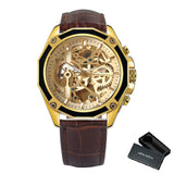 Men Stainless Steel Strap Skeleton Dial Fashion Business watch
