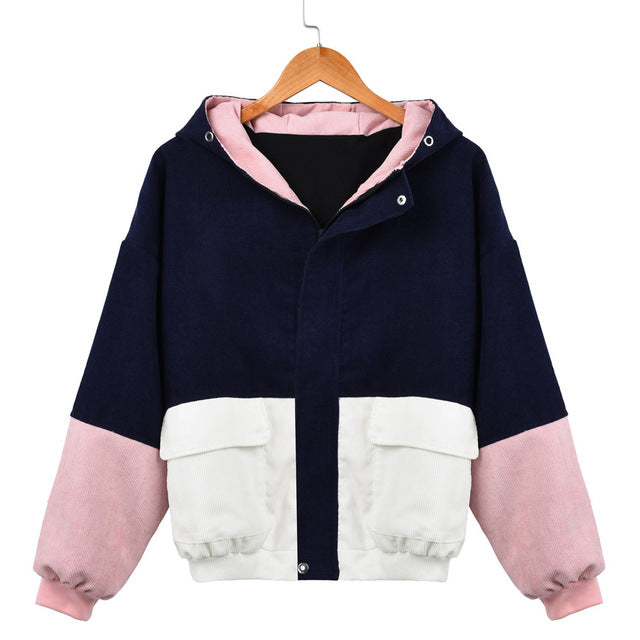 Block Hooded Corduroy Denim Women's Jacket
