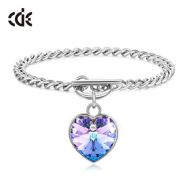CDE Women Necklace Jewelry Embellished with Crystals from Swarovski Purple Heart Charm Fashion Bracelets Valentine's Day Gift on AliExpress
