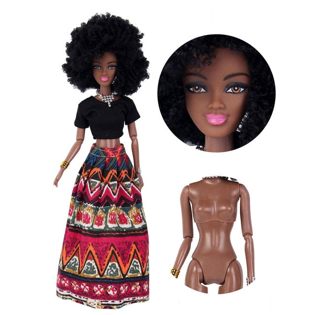 NEW Baby Dolls For Girls Baby Movable Joint African Doll Toy