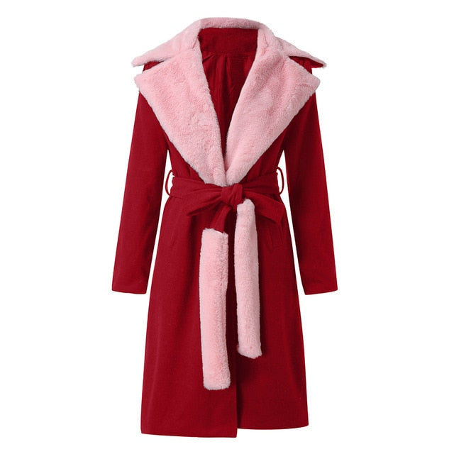 Women's turn down Collar Woolen long Coat