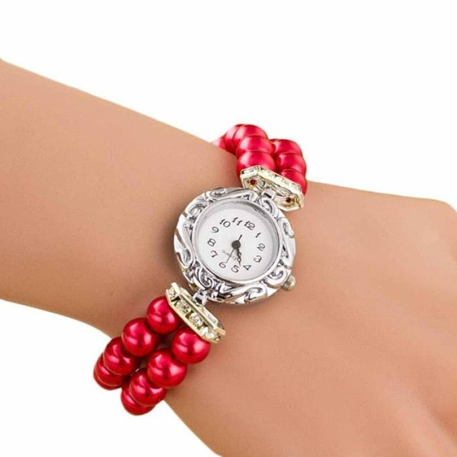 Women's New Pearl Beads Watch