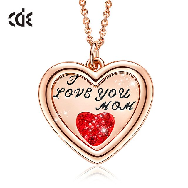 CDE Women Gold Necklace Pendant Jewelry Embellished with crystals from Swarovski I Love You Heart Necklace For Mother Gift