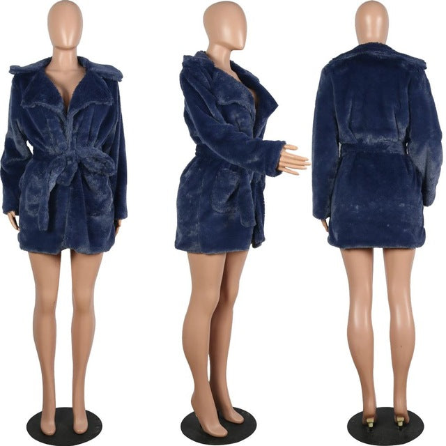 Long Sleeve Bandage Winter Fur Coat