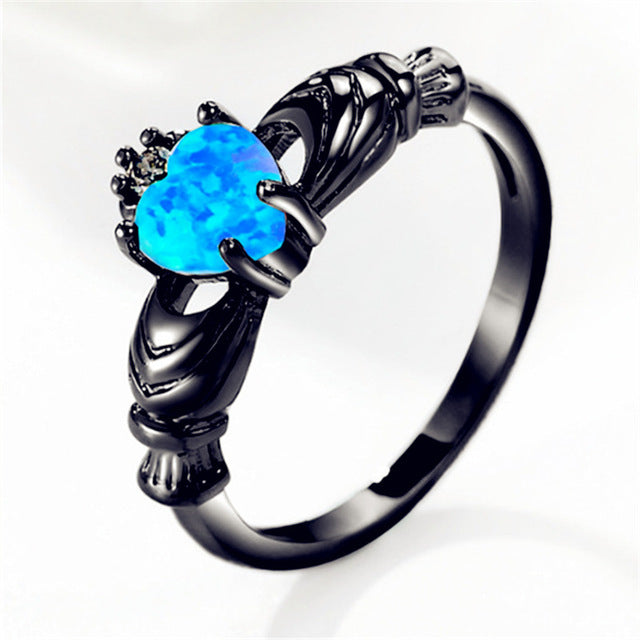New Trendy Black Gun Color Love Heart Charm Finger Ring For Women