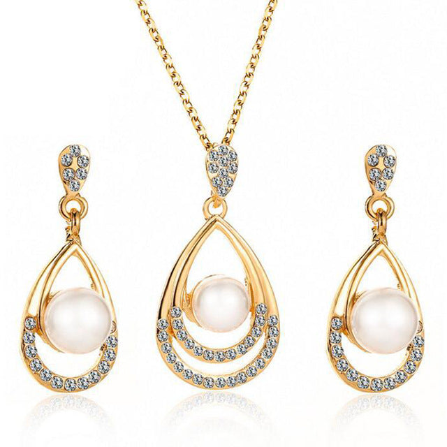 New Arrival Fashion Chain Link Necklace Earrings Crystal Jewelry Set
