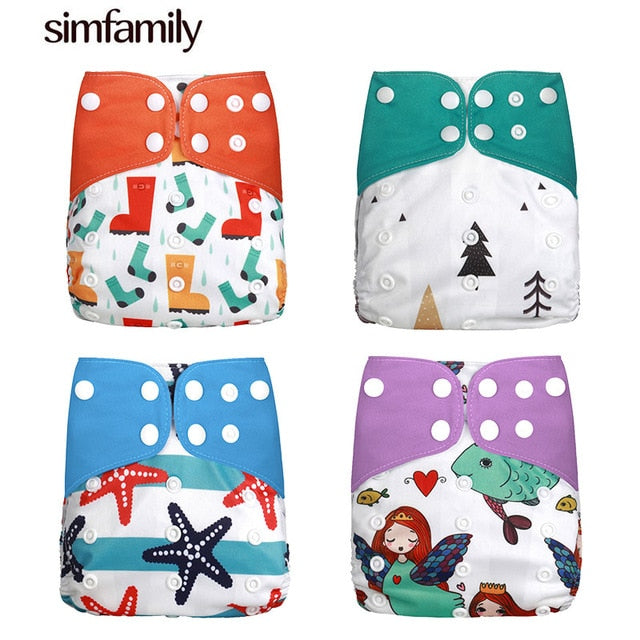New 4pcs/set Washable Cloth Diaper