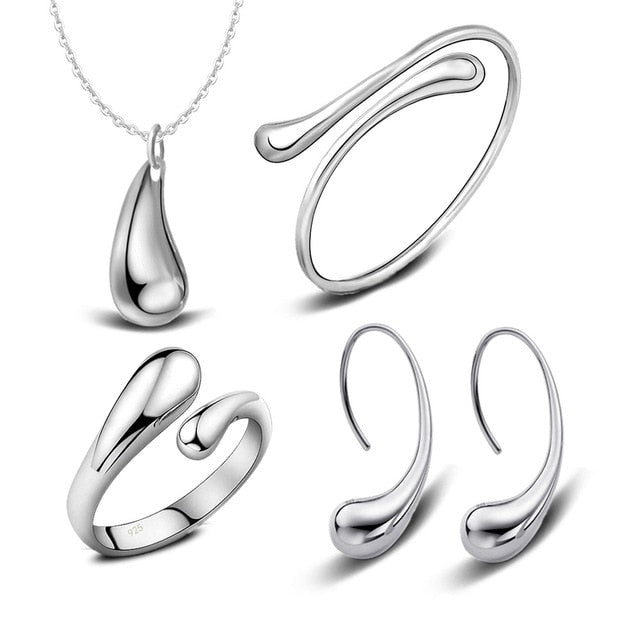 925 Stamped Silver Water Drop Bangles+Necklace+Rings+Earrings Set