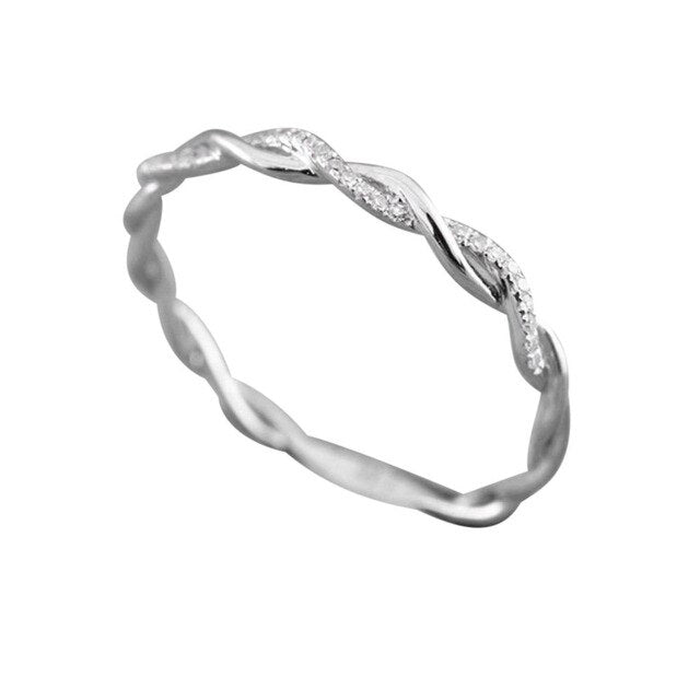 Simple Twisted Shape Rings for Women Diamond Silver Jewelry