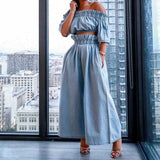 Women's Set Off Shoulder Crop Top Loose Wide Leg Pants Suit