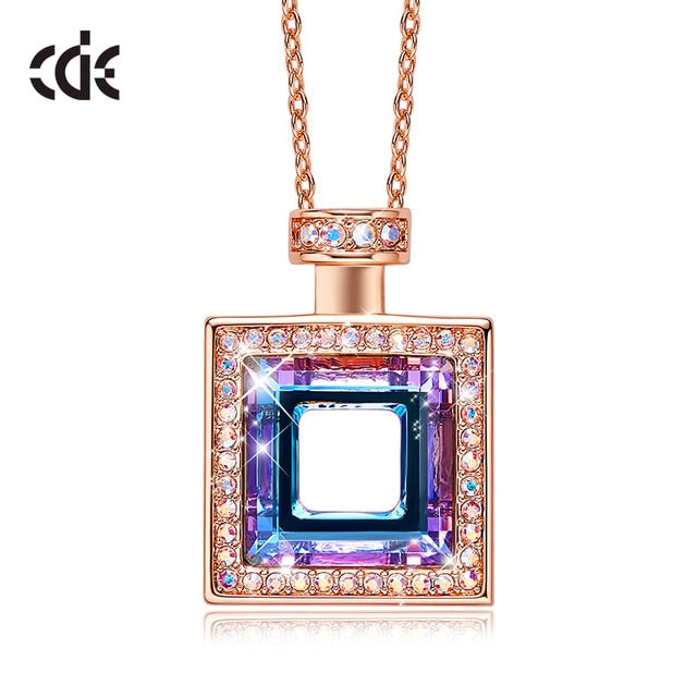 CDE Women Gold Necklace Pendant Embellished With Crystals from Swarovski 18K Rose Gold Perfume Bottle Necklace Mothers Day Gift