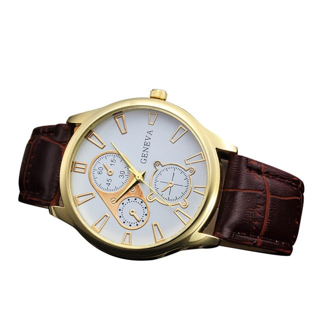 Fashion Retro Design Leather Band Alloy Quartz Wrist Watch