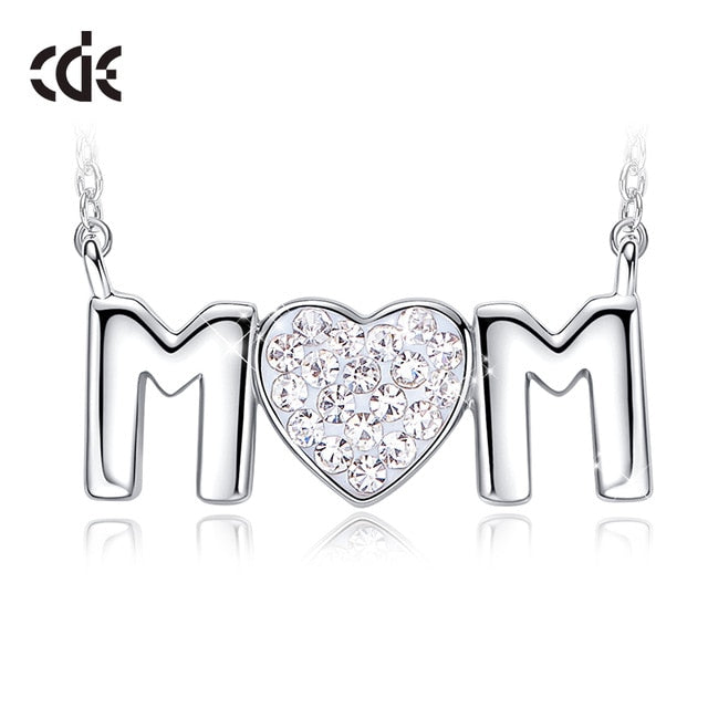 CDE Women Gold Necklace Pendant Jewelry Embellished with crystals from Swarovski Red Heart Jewelry Mother Day Fashion Gifts