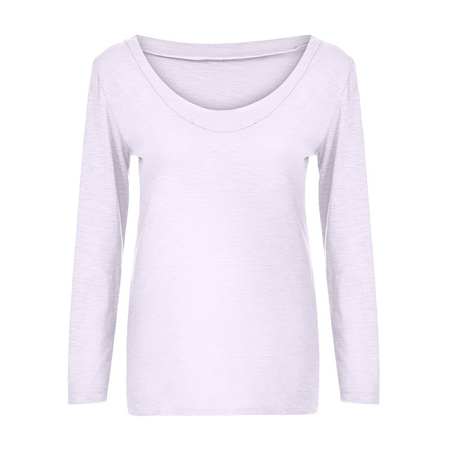 Solid Long Sleeve O neck Pullover Tops T shirt
