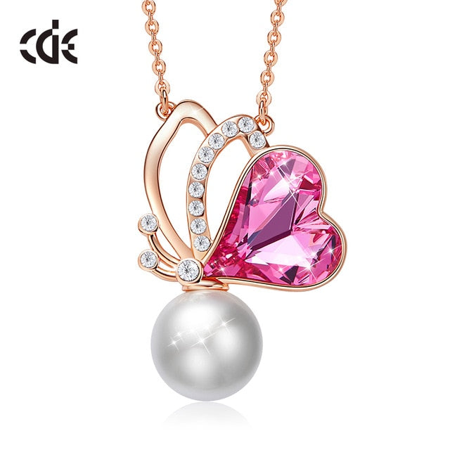 CDE Women Gold Pendant Necklace Embellished with crystals from Swarovski Butterfly Necklace Heart Pendant Rose Gold Jewelry