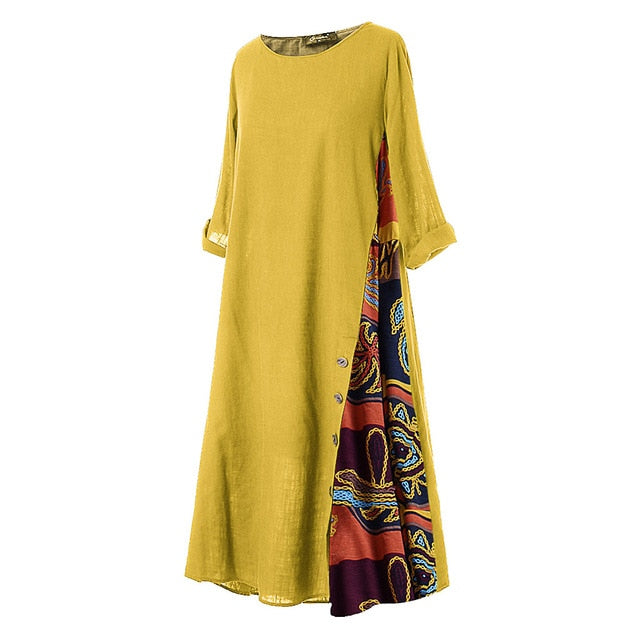 Women Plus Size 3/4 Sleeves O Neck Button dress