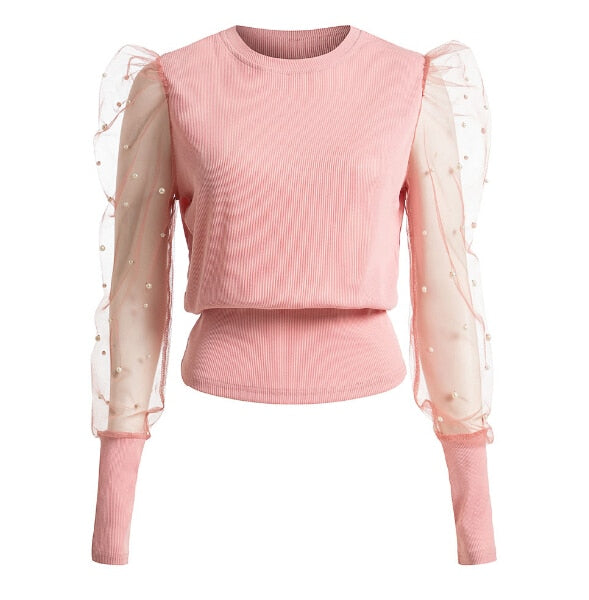 Women Mesh Puff Long Sleeve Shirt Loose Casual Blouse Tops