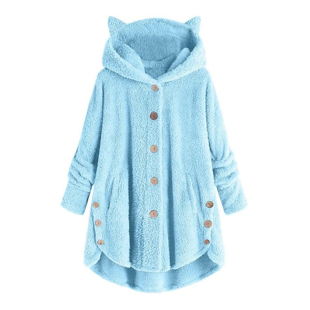 Women Fluffy Coat Loose Hoodie Sweatshirt