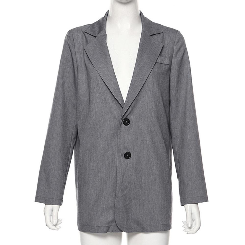Vintage solid Pockets Women's Blazers