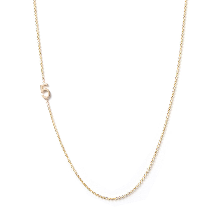 14K GOLD ASYMMETRICAL NUMBER NECKLACE - 5