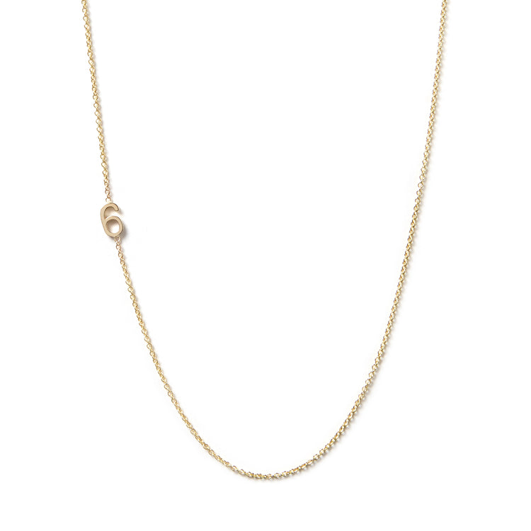 14K GOLD ASYMMETRICAL NUMBER NECKLACE - 6