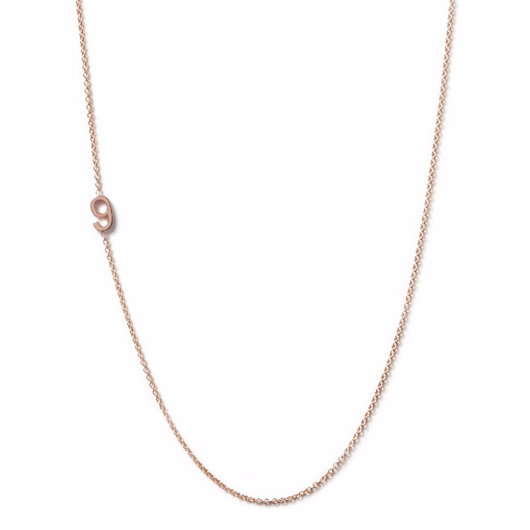 14K GOLD ASYMMETRICAL NUMBER NECKLACE - 9