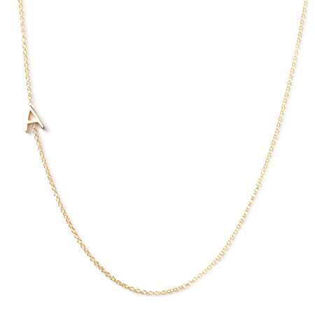 14K GOLD ASYMMETRICAL LETTER NECKLACE - A