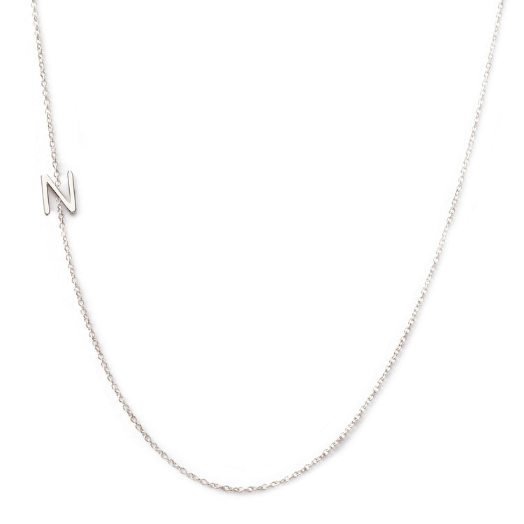 14K GOLD ASYMMETRICAL LETTER NECKLACE - N