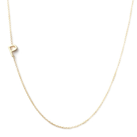 14K GOLD ASYMMETRICAL LETTER NECKLACE - P