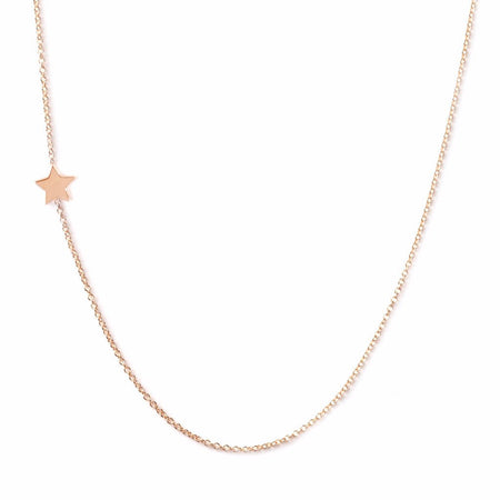 14K GOLD ASYMMETRICAL LETTER NECKLACE - Star