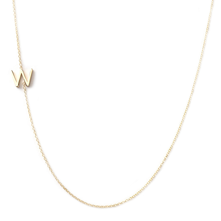 14K GOLD ASYMMETRICAL LETTER NECKLACE - W