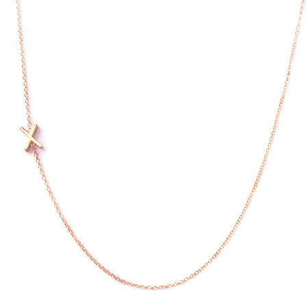 14K GOLD ASYMMETRICAL LETTER NECKLACE - X