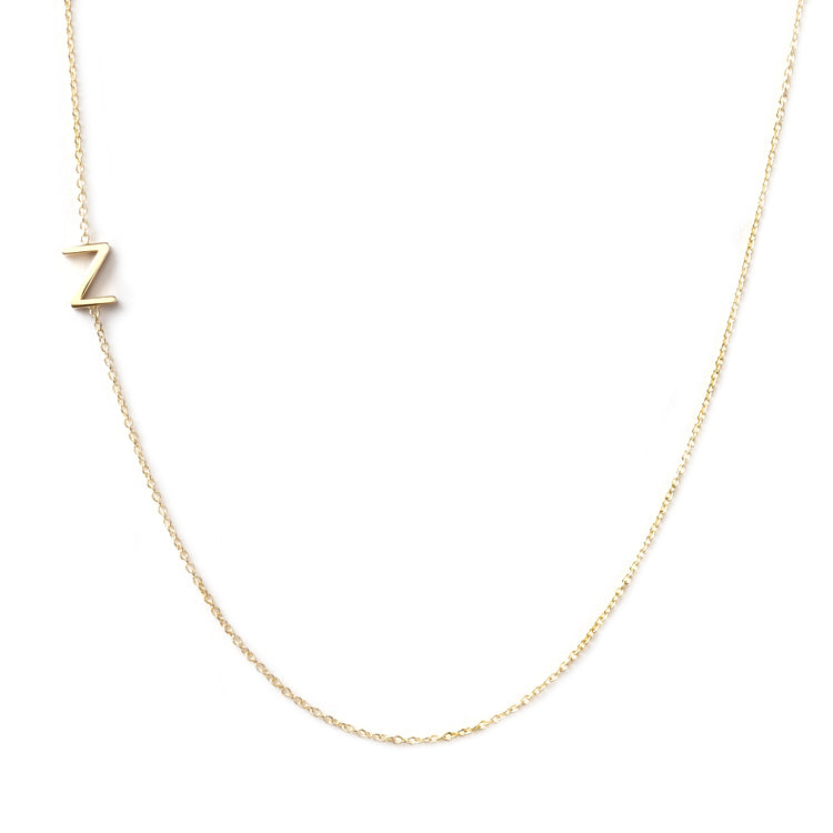 14K GOLD ASYMMETRICAL LETTER NECKLACE - Z