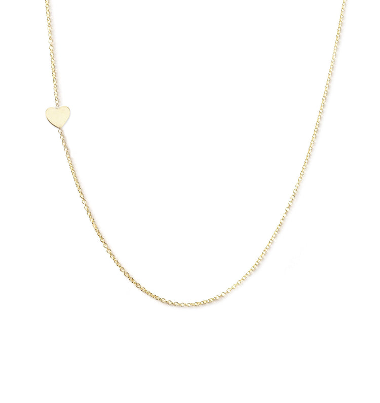 14K GOLD ASYMMETRICAL LETTER NECKLACE - Heart