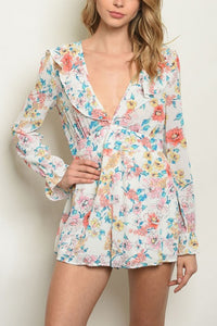 BETSY IVORY FLORAL ROMPER