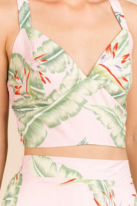 GRACE FLORAL PRINT PINK CROP TOP
