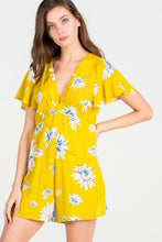 Load image into Gallery viewer, TIFFANY FLORAL PRINT YELLOW ROMPER