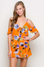 Load image into Gallery viewer, BETHANY FLORAL COLD SHOULDERS ORANGE ROMPER