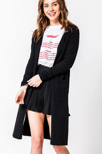 SHELBY BLACK LONG CARDIGAN SWEATER