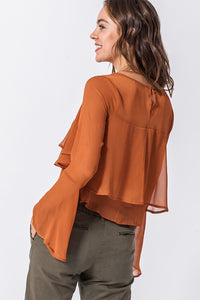 JOSEPHINE BROWN BELL SLEEVE TOP