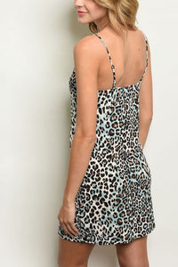 MILO BLUE LEOPARD PRINT DRESS