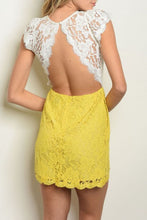 Load image into Gallery viewer, MACKENZIE WHITE & YELLOW LACE DRESS