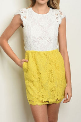 MACKENZIE WHITE & YELLOW LACE DRESS