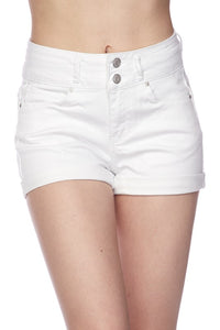 TESS HIGH WAISTED WHITE DENIM SHORTS